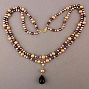 Vintage Multi Color Two Strand Pearl Necklace w/ 14K Gold Clasp