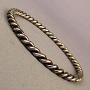 Twisty Old Sterling Silver Bangle Bracelet