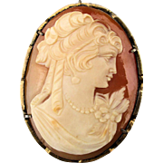 Carved Shell Cameo 900 Silver Pin Pendant w/ Pretty Pert Profile Face