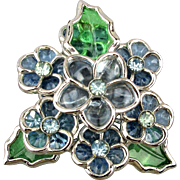 Vintage CORO Flower Pin w/ Gripoix Poured Glass See-Thru Petals