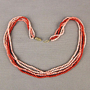 Vintage Four Strand Genuine Coral Seed Bead Necklace
