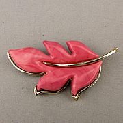 1970s Book Piece Sarah Cov Pink Thermoset Lucite Leaf Pin Brooch