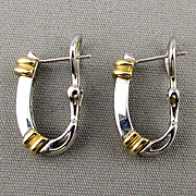 Estate 14K White / Yellow Gold Earrings w/ Diamonds