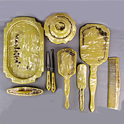 Victorian 9 Pc. Vanity Dresser Set - Etched Celluloid - Hair Nails Buttonhook