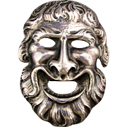 Signed CINI Sterling Silver Face Pin Bacchus of Wine