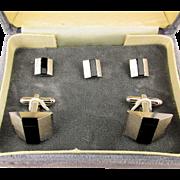 Vintage DANTE Boxed Cufflinks Stud Set Modernist Silvertone / Black