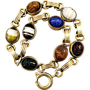 Gold-Filled Carved Gemstone Scarab Bracelet Jade Lapis Tigereye More