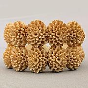 Vintage Carved Faux Coral Celluloid Hinge Bracelet Wide Clamper