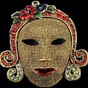 Vintage Art Deco Revival Gilded Face Pin w/ Rhinestones