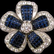 Vintage AVON Cobalt Blue Rhinestone Flower Pin