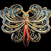 Cindy Adams Big Enamel Rhinestone Dragonfly Pin Brooch Book Piece