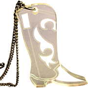 Big Vintage Lucite Cowboy Boot Pendant on 925 Silver Chain Necklace