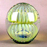 Double Bubble Art Glass Robert Eickholt Paperweight Large Iridescent