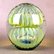 Double Bubble Art Glass Robert Eickholt Paperweight Large Iridescent