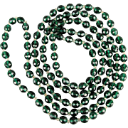 Long Irish Green Crystal Bead Necklace 60 Inches