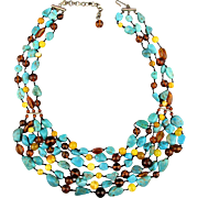 Vintage Desert Rose Trading Necklace - 6 Strands - Turquoise Baltic Amber Sterling Silver