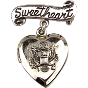 WWII Sterling Silver SWEETHEART Locket Pin