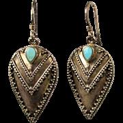 Sterling Silver Bali ~ V ~ Dangle Drop Earrings w/ Turquoise