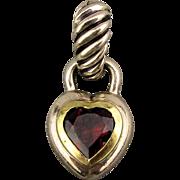 David Yurman 925 Sterling Silver - 14K Gold Pendant Enhancer Garnet Heart