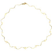 Wavy 14K Gold w/ Fine Pearls Necklace Chain