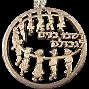 Vintage Israeli Sterling Silver Pendant Necklace Dancing Hora