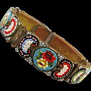 Old Italian Micro Mosaic Tile Link Bracelet c1920s Floral