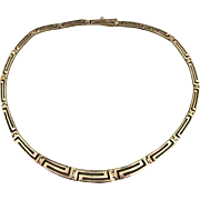 Classic Sterling Silver Greek Key Link Necklace Modernist