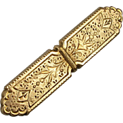 Old Victorian 9K Gold Etched Pin Brooch