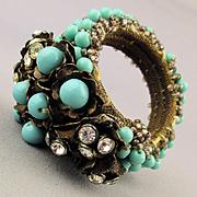 c1940 Miriam Haskell Frank Hess Coil Bracelet Glass Beads Rhinestones