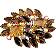 Vintage 1950s Rhinestone Pin Brooch Navette - Striped Glass - AB
