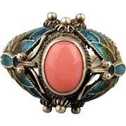 Vintage Chinese Sterling Silver Enamel Filigree Ring w/ Coral - Butterfly