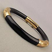 Vintage Chinese 14k Gold Black Jade Hinge Bracelet