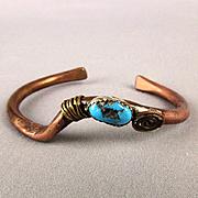 Vintage Brutalist Copper Cuff Bracelet Fine Turquoise Stone