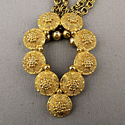 1960s Trifari Bumpy Textured Goldtone Pendant Necklace Chains