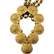 1960s Trifari Bumpy Textured Goldtone Pendant Necklace Chains