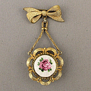 Vintage CORO Guilloche Watch Pin Brooch Enamel Rose
