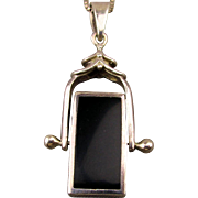 Topsy Turvy Sterling Silver 2 Tone Onyx Pendant Necklace