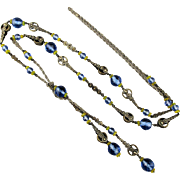 c1920 Signed BLISS Long Flapper Glass Necklace Sautoir Chain Early Napier