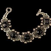 Vintage Mexican Sterling Silver Onyx Link Bracelet - Nice Work