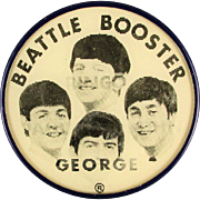 Rare Original 1964 Beatles Misspelled BEATTLE Booster Flicker Pin - Oops