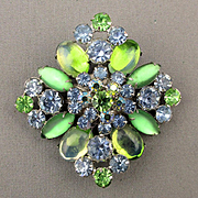 Minty Green Rhinestone AB Glass Crystal Pin Brooch