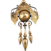 Antique Victorian 14k Gold Pin Brooch Etched w/ Dangles