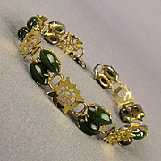 Vintage Chinese Jade in Gold-Filled Link Bracelet