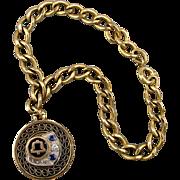 Vintage Gold-Filled Bell Telephone Charm Bracelet w/ Gems
