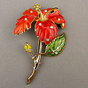 Huge Bold Big Enamel Flower Pin Brooch w/ Rhinestones