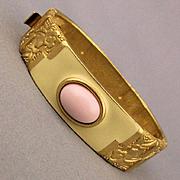 Modernist MONET Clamper Bracelet - Enamel Stones Deco Style Florals