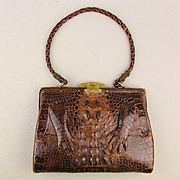 Vintage Genuine Alligator Handbag Leather Lined