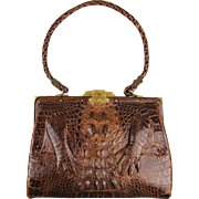 Vintage Genuine Alligator Handbag Leather Lined