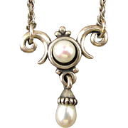 James Avery 925 Sterling Silver Pearl Drop Necklace