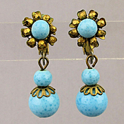 Vintage Miriam Haskell Turquoise Glass Bead Earrings